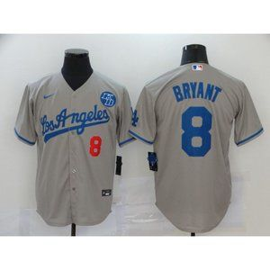 LA Dodgers #8 Kobe Bryant Gray Jersey